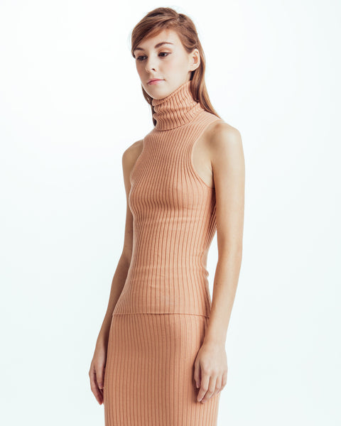 Nonna sleeveless turtleneck in Bandaid - Founders & Followers - Giu Giu - 2