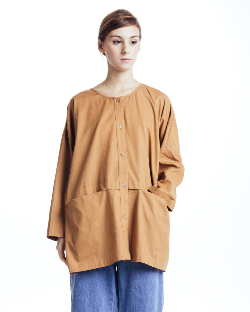 Cropped raincoat top in Clay - Founders & Followers - Revisited Matters - 1