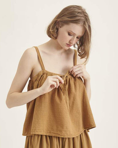 Bari top in dark gold