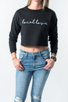 LOCAL LOVE SCRIPT CROP CREW BLACK