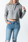 LOCAL LOVE STAMP CROP HOODIE GREY
