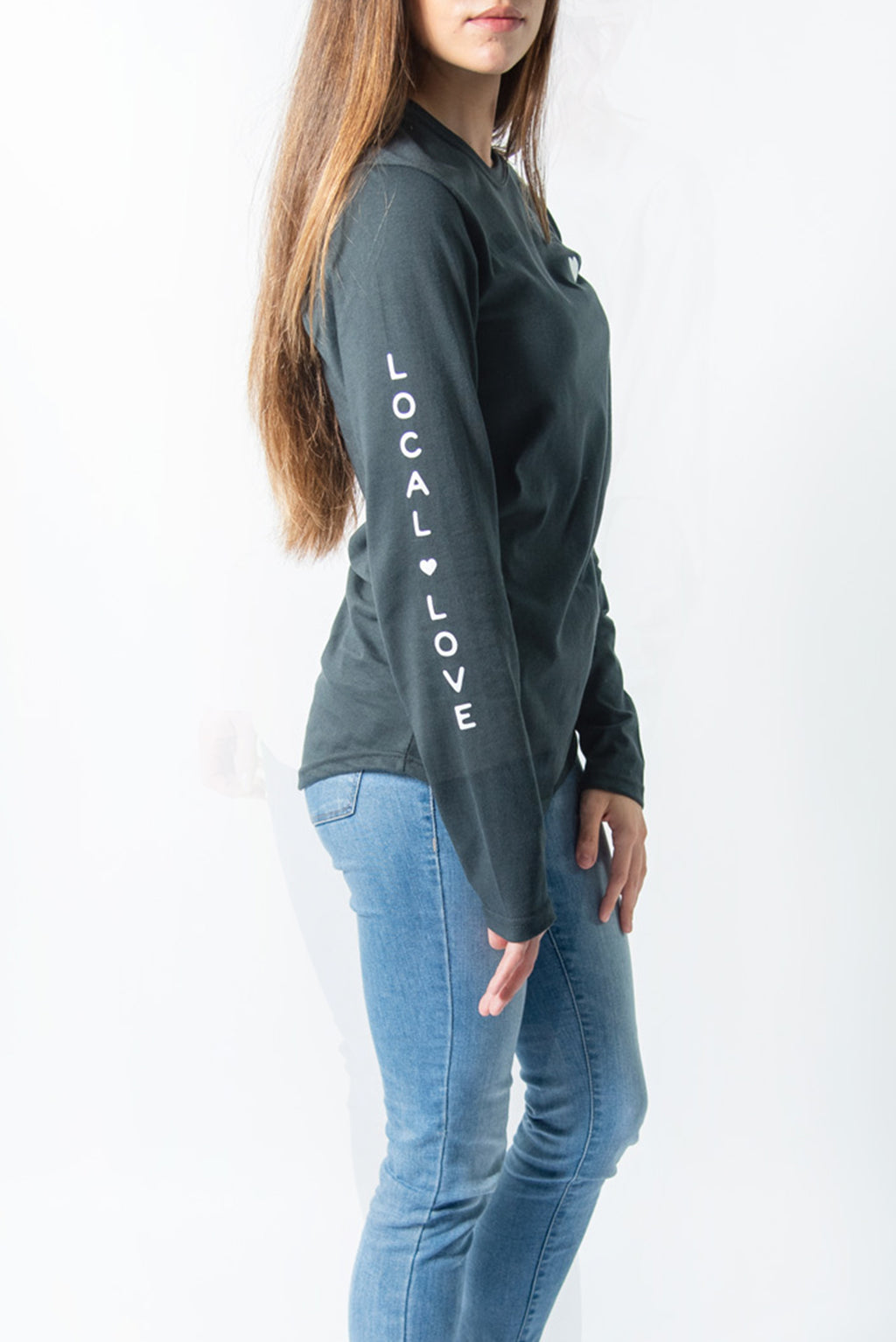 LOCAL LOVE HEART SCOOP LS CHARCOAL