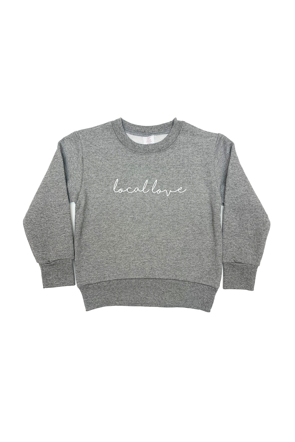 CHILD LOCAL LOVE SCRIPT CREWNECK HEATHER GREY