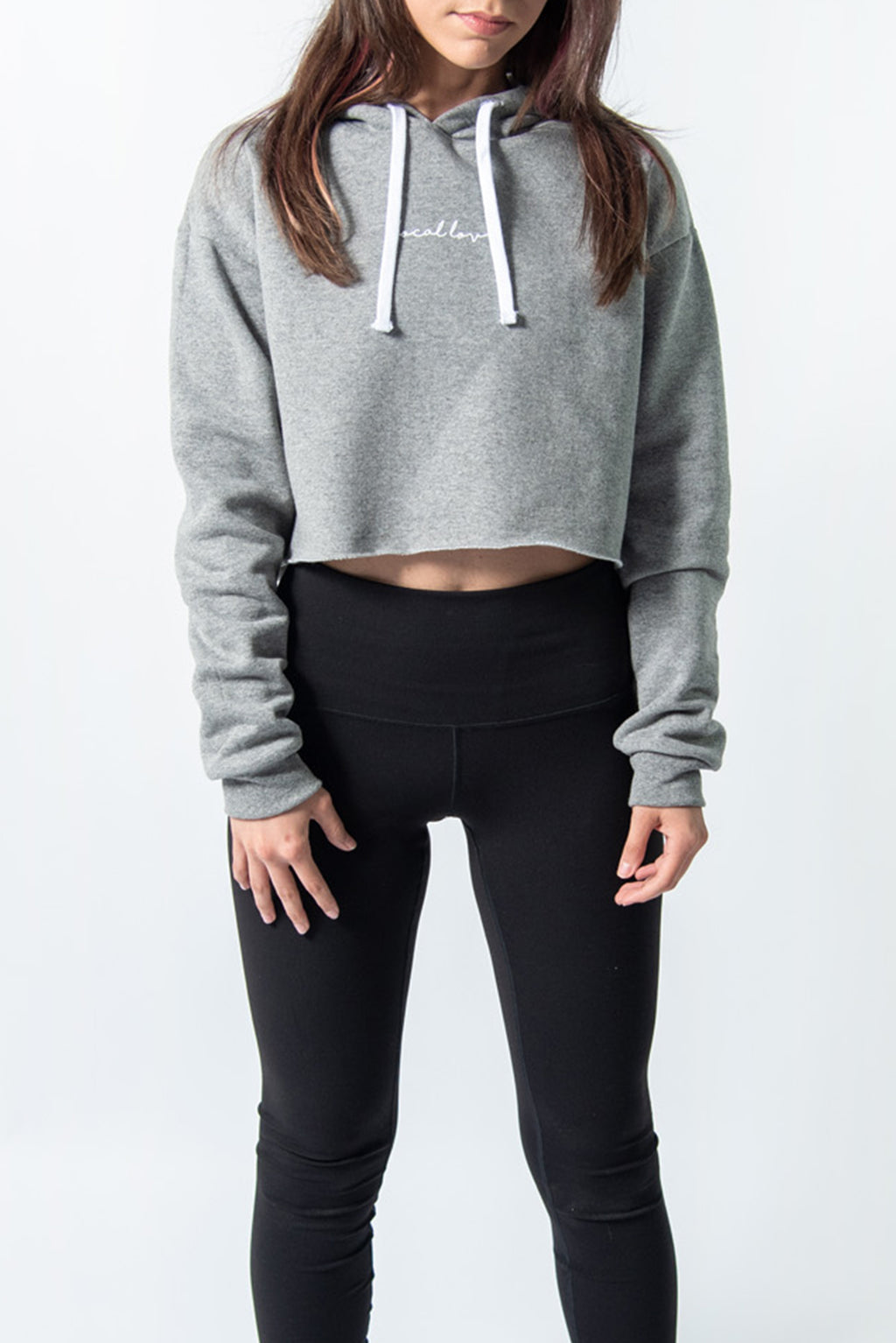 LOCAL LOVE SCRIPT CROP HOODIE GREY