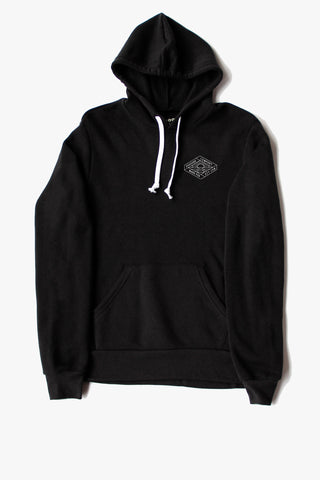 LOCAL LOVE STAMP CROP HOODIE BLACK
