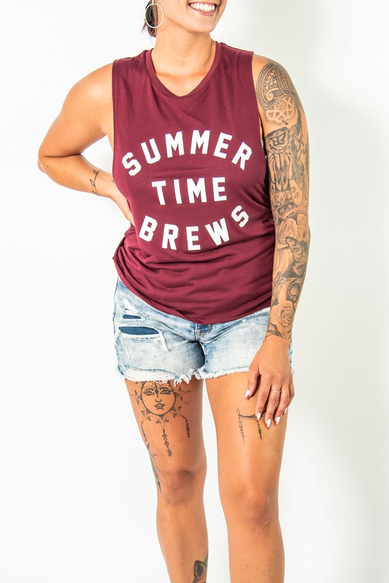 SUMMER TIME BREWS WOMENS MUSCLE TANK MAROON