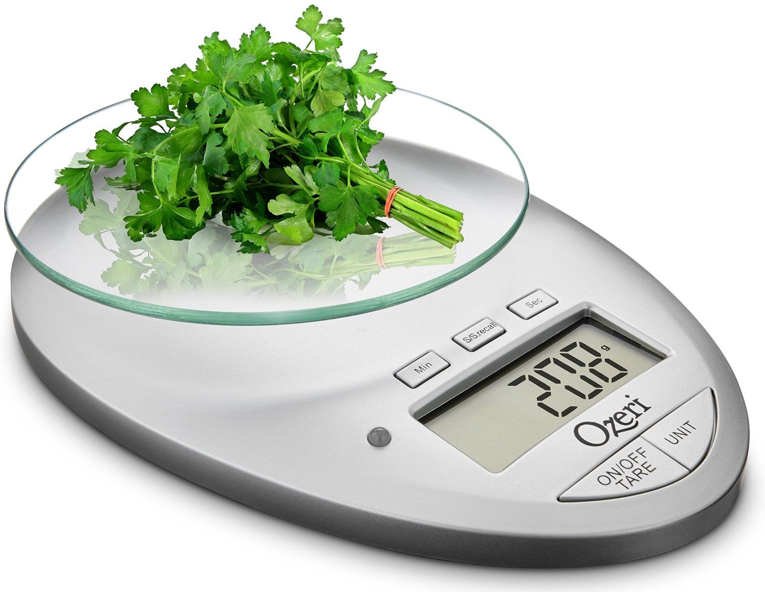 Ozeri Pro II Digital Kitchen Scale with Removable Glass Platform and  Countdown Kitchen Timer (1 g to 12 lbs(5 5 kg) Capacity), White