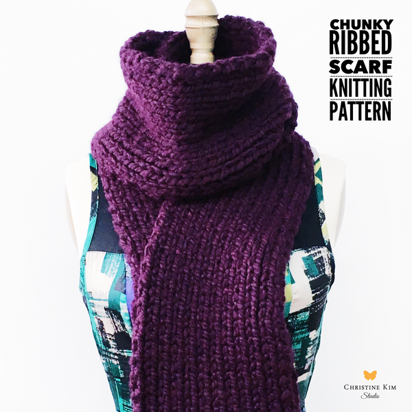 Chunky Ribbed Scarf Knitting Pattern