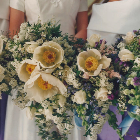 Cascading bridal bouquets with herbaceous peonies, spirea, roses, snapdragon and limonium.