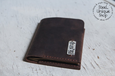 Aikido Kanji on Leather Passport Wallet