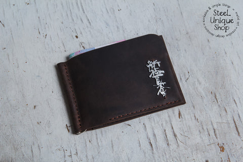 Shinkyokushin Kanji on Leather Money Clip Wallet