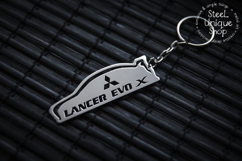 Mitsubishi EVO X Side View Stainless Steel Keychain