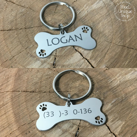 Custom Pet Dog Tag Bone Engraved