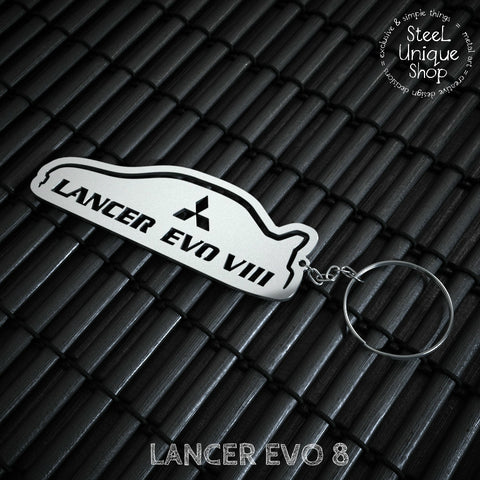 Mitsubishi EVO 8 Side View Stainless Steel Keychain