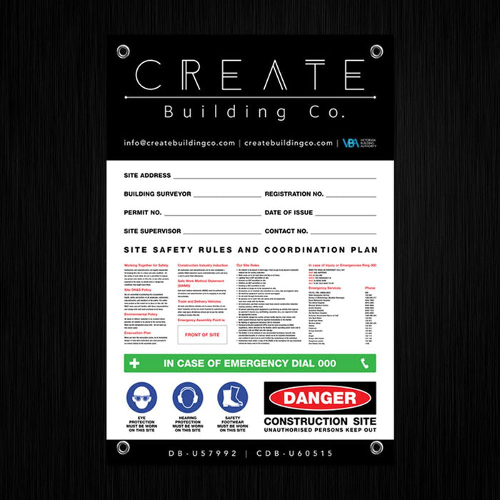 Large Site Safety Corflute Signs - 1200 x 800mm