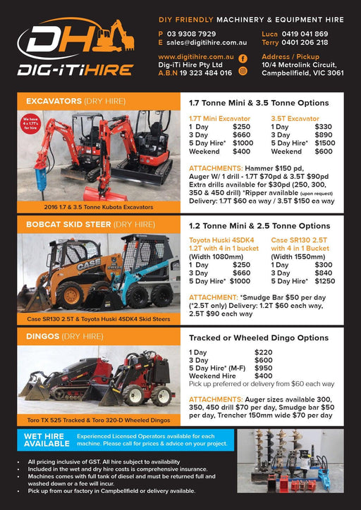 Plant Hire - Pricelist Flyer