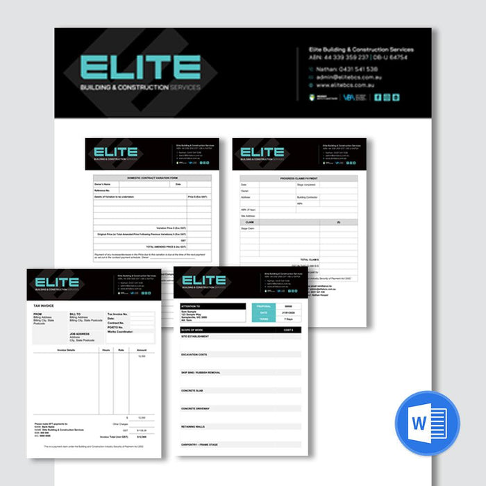 Electronic templates for quotes and invoices.