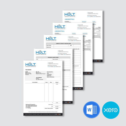 Several types of electronic templates for quotes and invoices and a variety of payment documents.