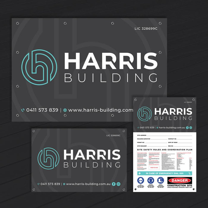 Branding & Site Safety Corflute Signs + Banner Mesh Pack
