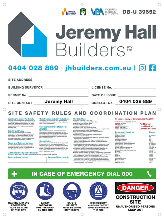 Large Site Safety Corflute Signs - Tradie Packs