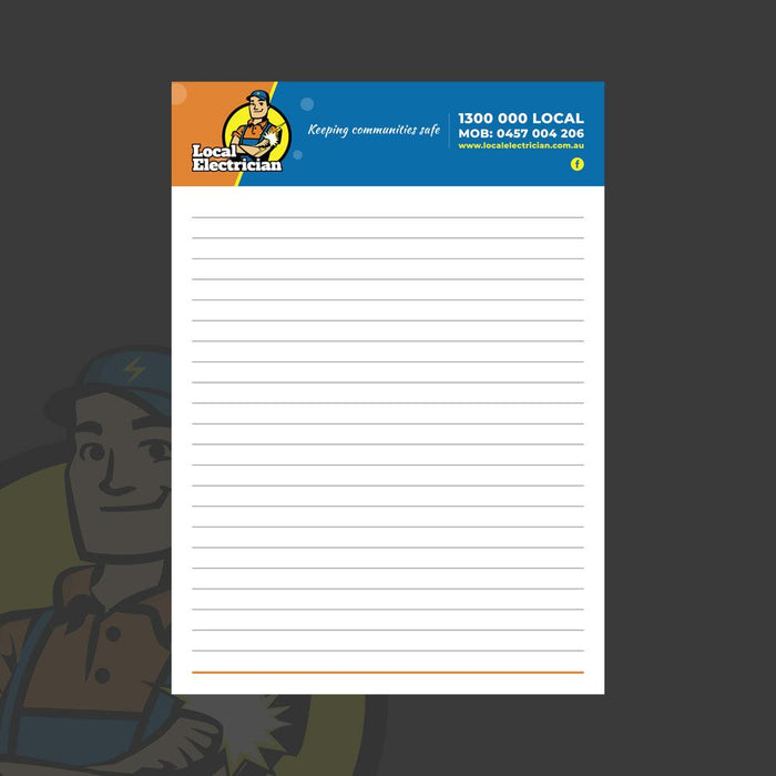 A4 notepad for electricians.