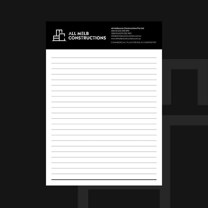 A4 notepad for construction companies.