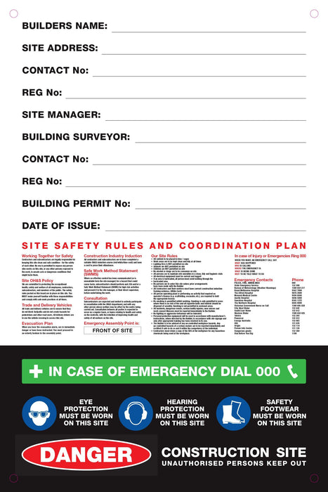 Site Safety Corflute Signs - Tradie Packs