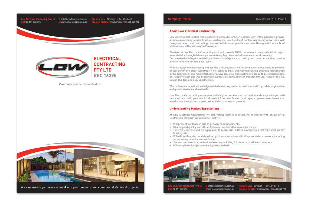 Electrical Company Profile Brochures - Tradie Packs