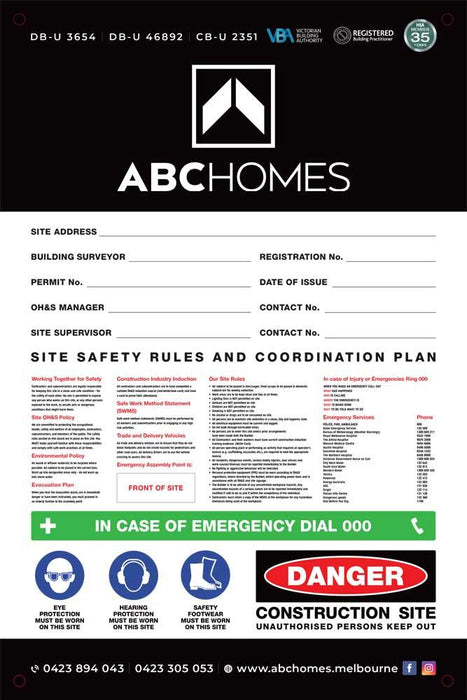 Site Safety Corflute Signs - 900 x 600mm