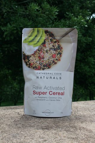 Raw Activated Super Cereal with Raspberry, Coconut, Chia, Amaranth and Cacao nibs 400g