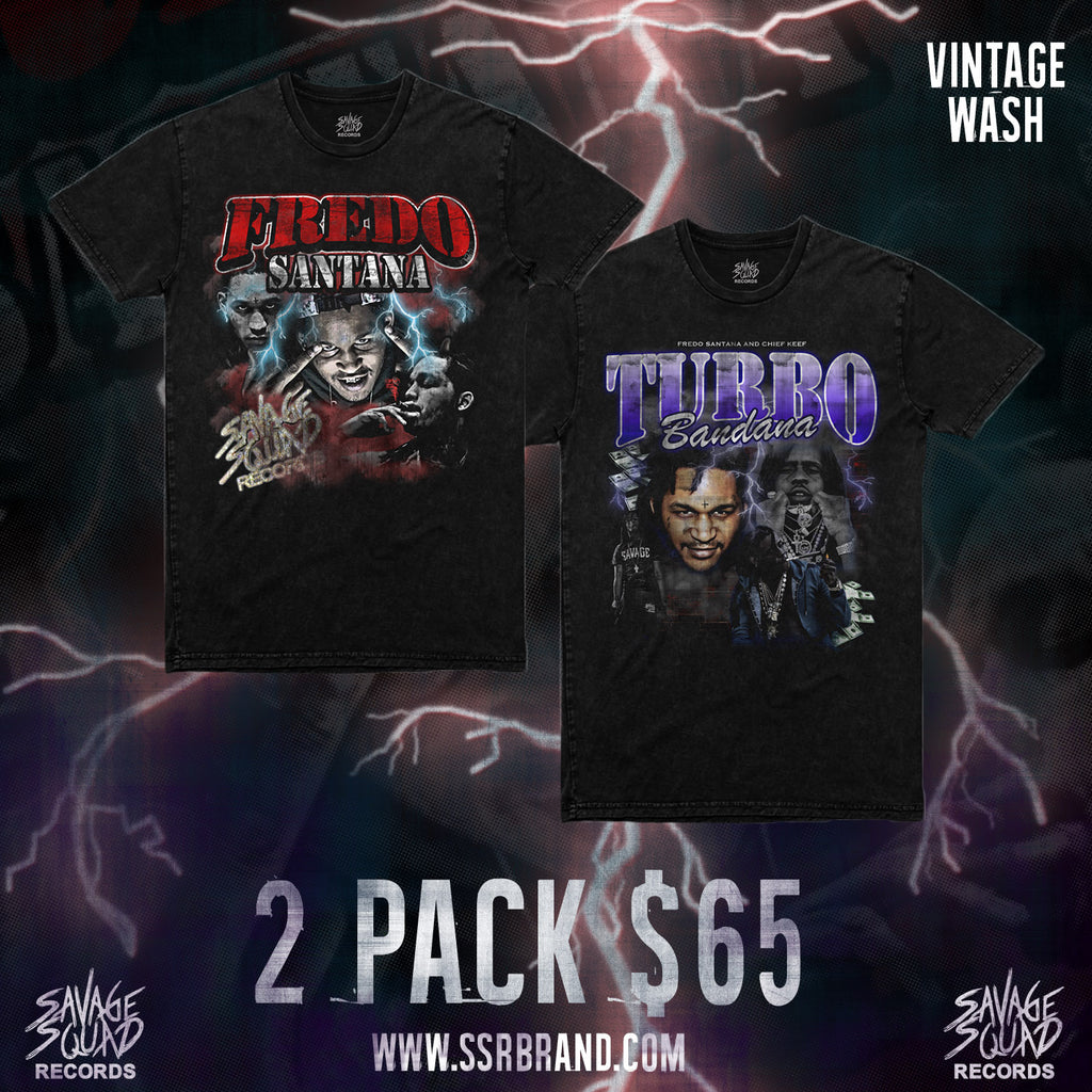 Fredo Legend/Turbo Bandana T-shirt Pack - Black Vintage Wash