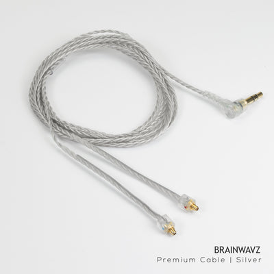 Frosty Silver Premium Earphone Cable with MMCX Connector (3.5 mm Jack)