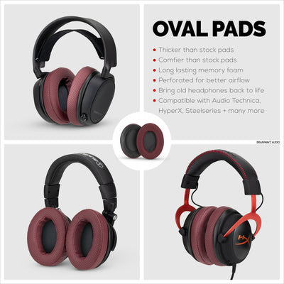 Headphone Memory Foam Earpads - Oval - Perforated