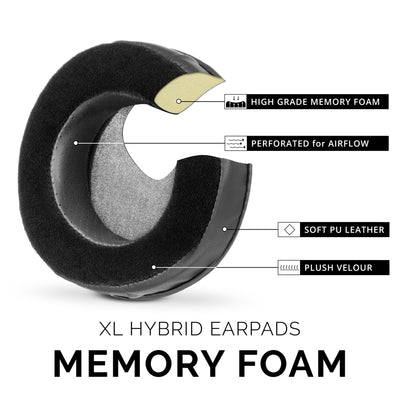 Headphone Memory Foam Earpads - XL Size - Hybrid