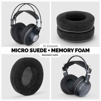 Headphone Memory Foam Earpads - XL Size - Micro Suede