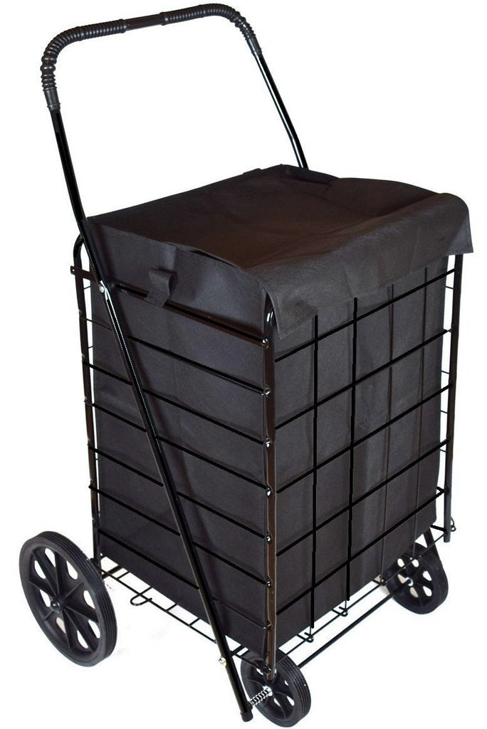 MOD Complete MDC77038 Portable Flat Folding Shopping Cart with Liner, Black - MOD Complete