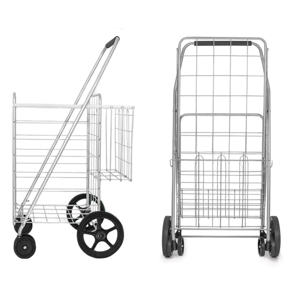 MOD Complete MDC77037 Silver Portable Double Basket Flat Folding Shopping Cart with Swivel Wheels