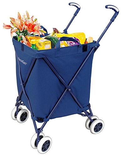 Folding Shopping Cart - VersaCart Transit Utility Cart - Transport Up to 120 Pounds (Water-Resistant Heavy Duty Canvas), Navy Blue - MOD Complete