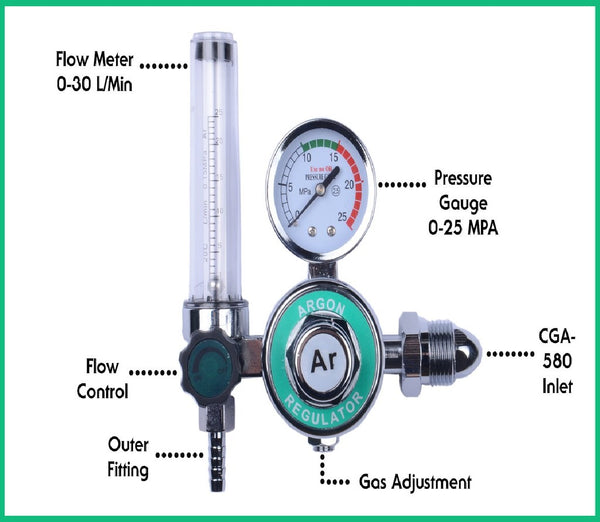 MOD Complete MDC99002 Argon Regulator With Flow meter TIG Welder MIG Welding CO2 Regulator 0 to 30 L/MIN 0-25 MPA Pressure Gauge CGA580 Inlet Connection Gas Welding Regulator Built-In Flow Meter - MOD Complete