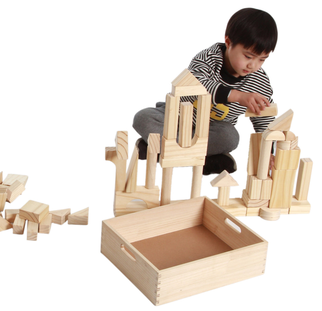 ... EXTRA LARGE SIZE   64 Piece Set Childrenu0027s Wood Building Blocks With  Solid Wooden Storage Tray