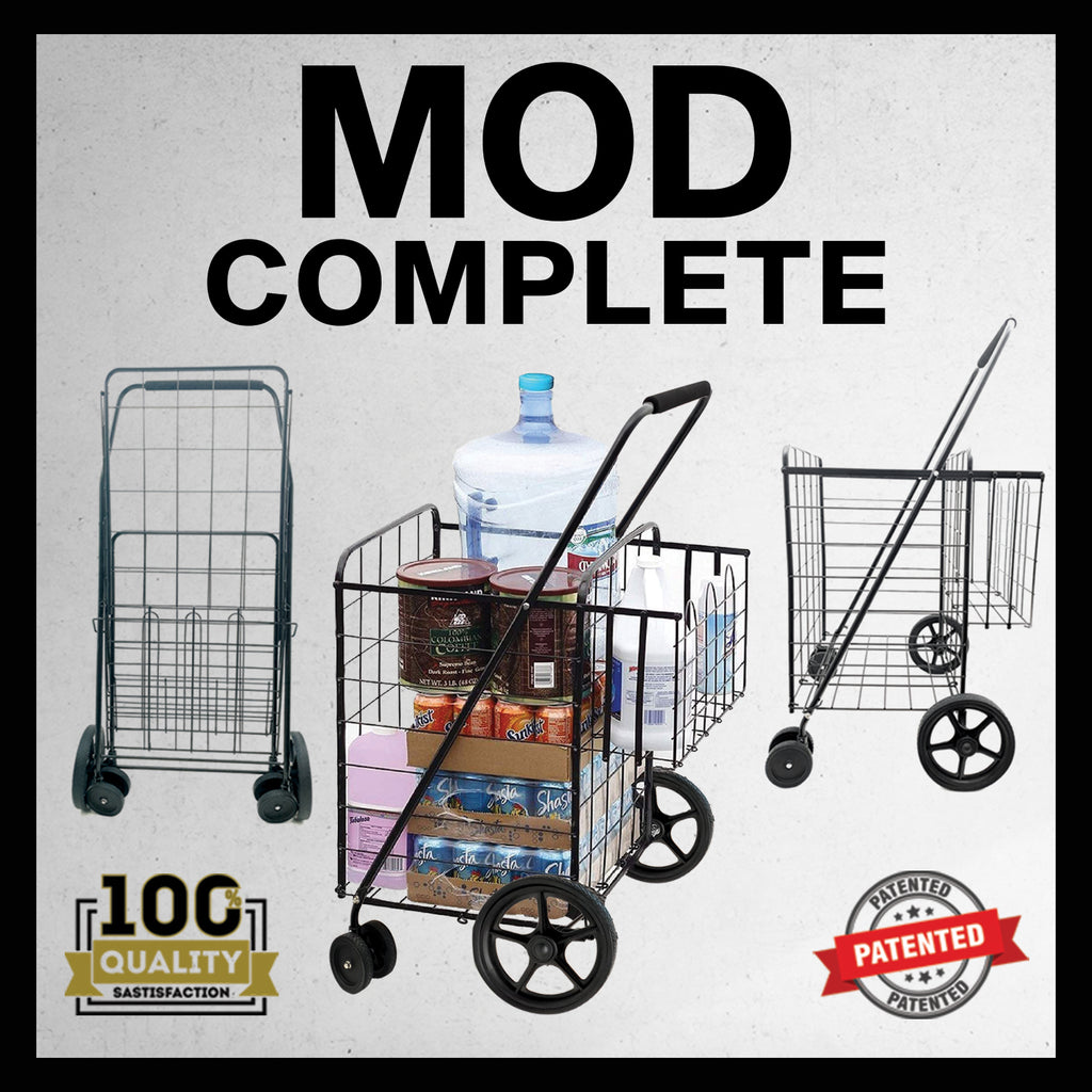 MOD Complete MDC77037 JUMBO XL Size Portable Mobility Double Basket Heavy-Duty Folding Shopping Cart w/Front Swivel Wheels 30 SECOND SNAP-ON ASSEMBLY - 300LB CAPACITY!
