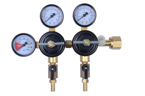 "MOD Complete CO2 Beer Regulator Dual Pressure Kegerator Heavy Duty Features T-Style Adjusting Handle - 0 to 60 PSI-0 to 3000 Tank Pressure CGA-320 Inlet w/ 3/8"" O.D. Safety Discharge 50-55 PSI - MOD Complete"