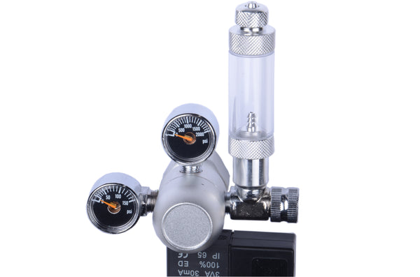 MOD Complete CO2 Regulator Silver Aquarium Mini Stainless Steel Dual Gauge Display Bubble Counter and Check Valve w/ Solenoid 110V Fits Standard US Tanks - LP150 PSI - HP2000 PSI Accurate & Easy to Adjust Comes w/ Tools - MOD Complete