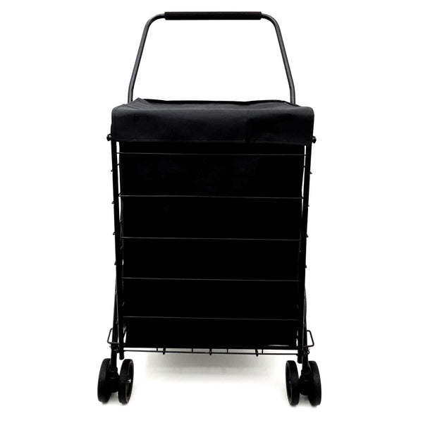 MOD Complete MDC77037 Portable Double Basket Heavy-Duty Folding Shopping Cart w/Front Swivel Wheels - Fits in Trunk OR Your Back Seat - Never Make Two Grocery Trips Again - 300 LB Weight Capacity!