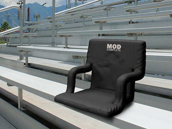 EXTRA WIDE Stadium Chair Seat for Bleachers or Benches - Enjoy Padded Cushion Backs and Armrest Support - 6 Reclining Custom Fit Sport Positions - Portable with Easy to Carry Backpack Straps - MOD Complete