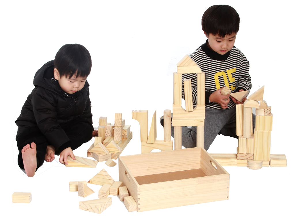 EXTRA LARGE SIZE   64 Piece Set Childrenu0027s Wood Building Blocks With Solid Wooden  Storage Tray