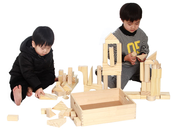EXTRA LARGE SIZE - 64 Piece Set Children's Wood Building Blocks With Solid Wooden Storage Tray Holder- Made From Solid Organic BPA-Free Natural New Zealand Pinewood - MOD Complete