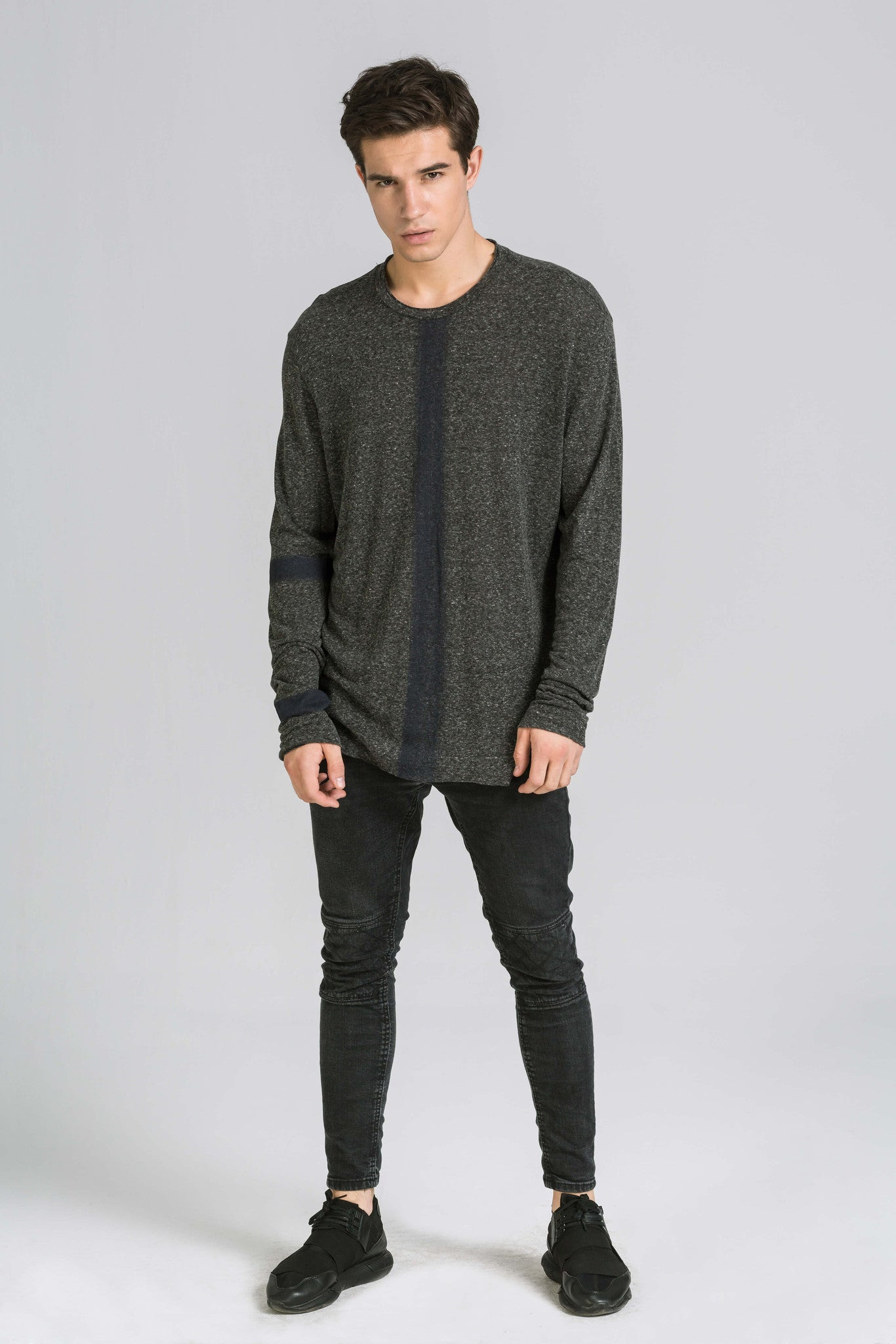 BODY STRIPE LS GREY TEE