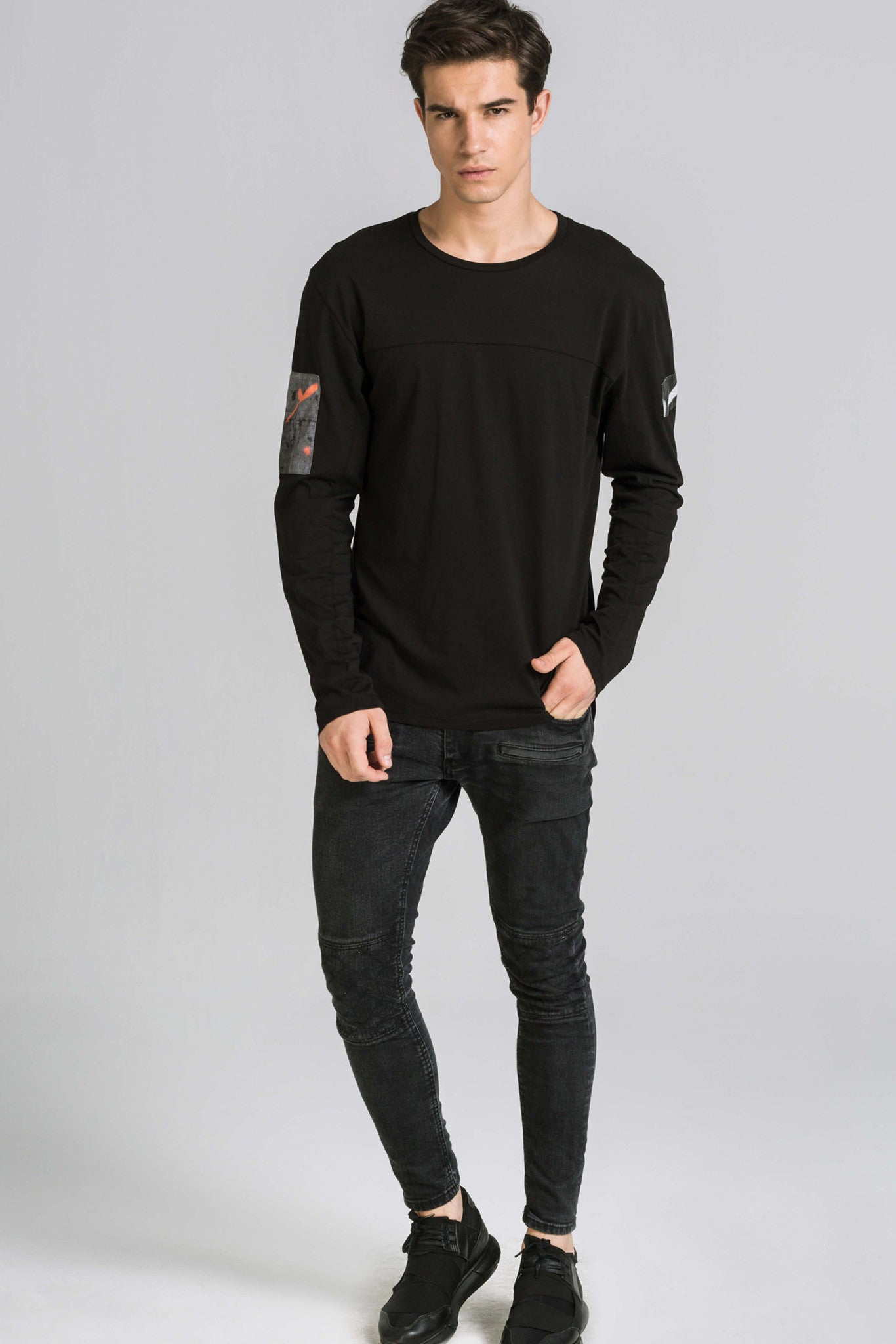 EVERY MORNING LS BLACK TEE