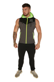 Urban Range Sleeveless Zip Hoodie - Black, Grey & Neon